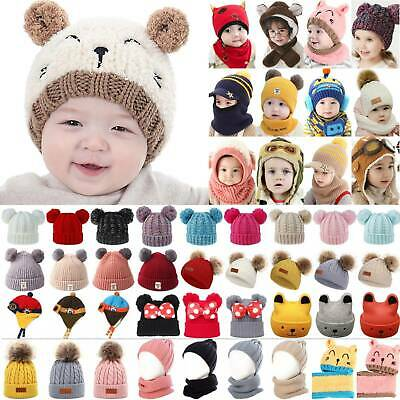 Baby Toddler Kids Boy Girl Winter Warm Knitted Pom Pom Beanie Hat Cap Scarf Sets