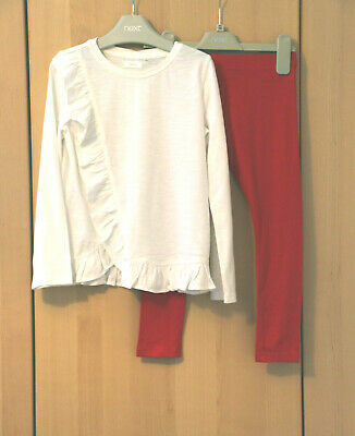 Next Girls Ecru Ruffle Top & Red Leggings Age 5 Years BNWT