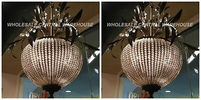 """Pair Antique French Restoration Decor Crystal Bead Chandelier Aged Metal Xl 34"""""""