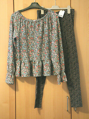Next Girls Floral Peplum Top & Animal Print Leggings Age 15 Years BNWT