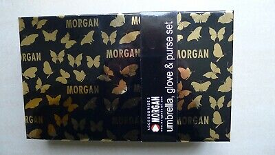 New Morgan Umbrella, Purse And Glove Gift  Set In Black And Gold