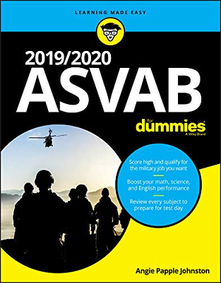 2019/2020 Asvab for Dummies by Angie Papple Johnston Paperback Book Free Shippin
