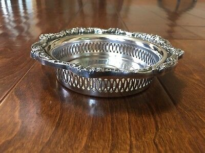 "6 1/2"" EPCA Old English by Poole Silver-plated Round Bowl Lattice Sides Ornate"