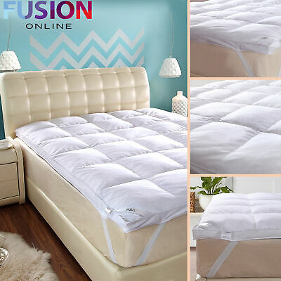 5 CM Luxury Goose Feather & Down Mattress Topper Elasticated Strap Hotel Quality