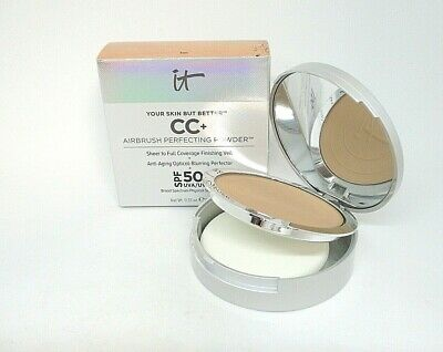 It Cosmetics Your Skin But Better CC+ Airbrush Perfecting Powder ~ Tan ~ .33 oz