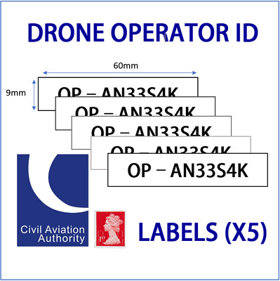 UK Drone Operator ID Labels 9mm CAA Regulatory Identification tags / Stickers