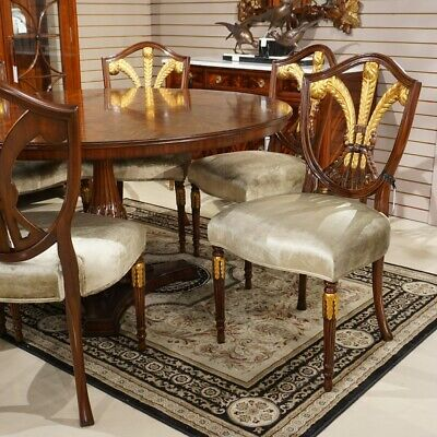 Set of 6 mahogany traditional featherback dining chairs with gold leaf details