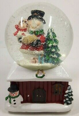 Snowman & Child Musical Wind Up Snow Globe Traditional Christmas Decoration #NG