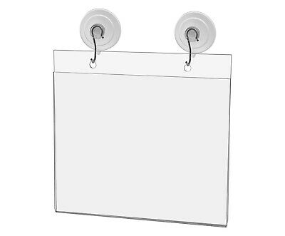 "Ad Frame Sign Holder Wall Mount 7""W x 5""H with Hooks and Suction Cups"