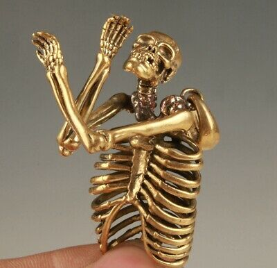 Retro China Brass Pendant Statue Skeleton Mascot Exorcist Collec Gift Old