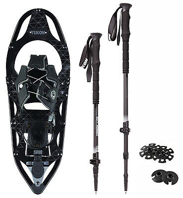 Yukon Elite Spin Snowshoes 8x21 (up to 150lbs) with Carbon Lite Poles Black