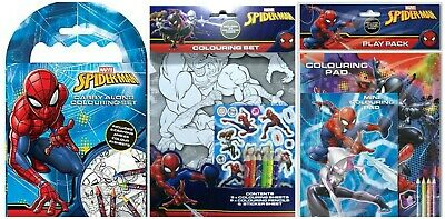 Spiderman Character Kids Childrens Activity Colouring Set Books Crayons Pencil