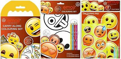 Emoji Childrens Character Kids Activity Colouring Set Books Crayons Pencil