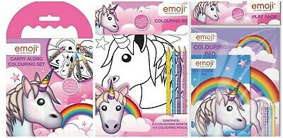 Emoji Unicorn Childrens Character Kids Activity Colouring Set Books Crayons