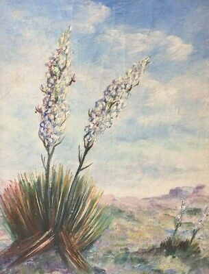 """Vintage oil painting, Texas, Yucca, c. 1941, signed """"LaVelle"""" REDUCED"""