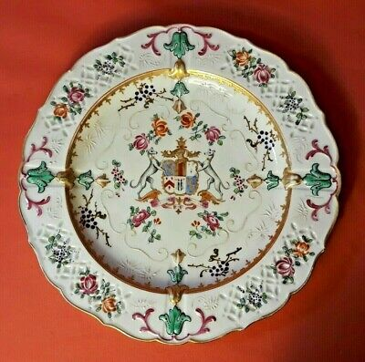 Antique Samson French Armorial Plate Chinese Export Two Whippets