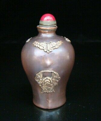 Collectible Handmade Carved  Statue Copper Brass Snuff Bottles NO-02
