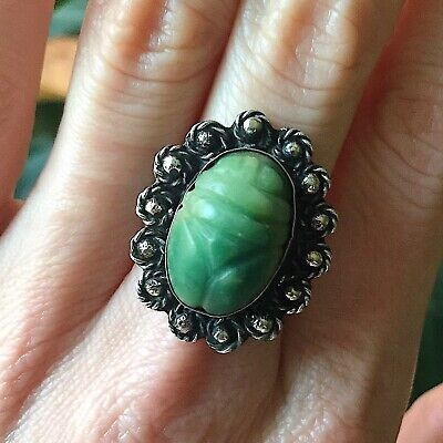 Egyptian Revival SCARAB BEETLE Ring - Green JADE Art DECO Sterling Silver  Sz 6