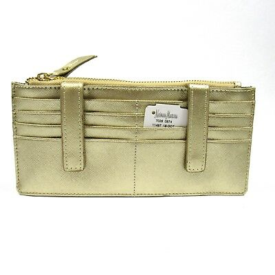 Neiman Marcus Women's ID Wallet Organizer Card Case Saffiano Leather Gold.NWT