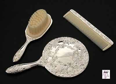 NEW  Baby Brush, Comb & Mirror Set Silver Plated Flower Girl Christening GIFT