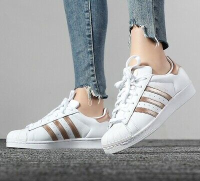 Crónica Rubicundo empeorar  ADIDAS ORIGINALS SUPERSTAR Ee7399 White Copper Metalic Gold Leather Womens  Shoes - $89.99 | PicClick