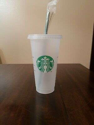 STARBUCKS Reusable 24 OZ Frosted Ice Cold Drink Cup With Lid & Straw RARE