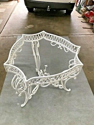 Beautiful Antique Wrought Iron Table With Marble Top And 3 Wrought Iron Chairs