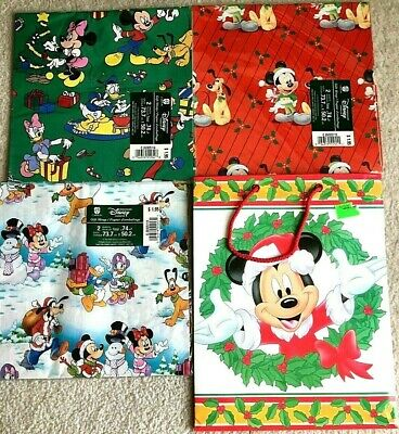 VTG Disney Mickey Mouse Gift Wrap Paper X 3 New Sealed 6 sheets & Gift Bag Lot