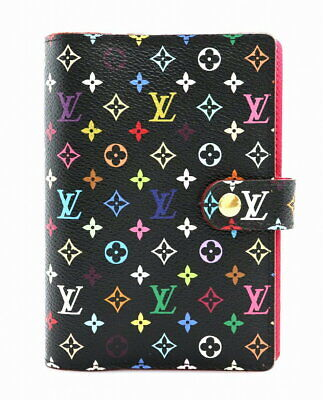LOUIS VUITTON Multicolor Agenda PM Day Planner Cover Case Black R21076 Ex