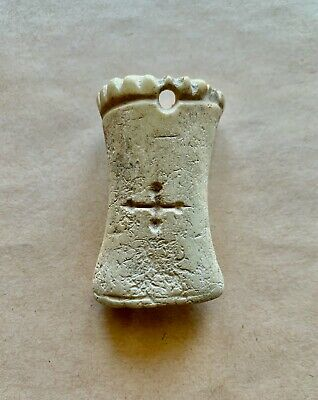 A fine byzantine Coptic carved pommee pendant, with an incised cross. Unique!