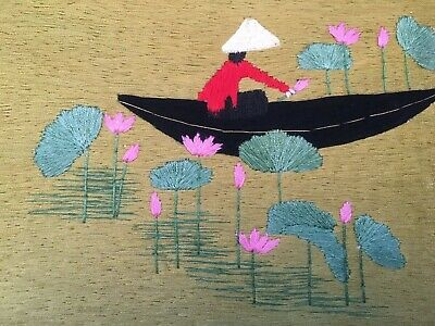 Vietnamese Embroidery, New, Person In Boat With Lotus Flowers