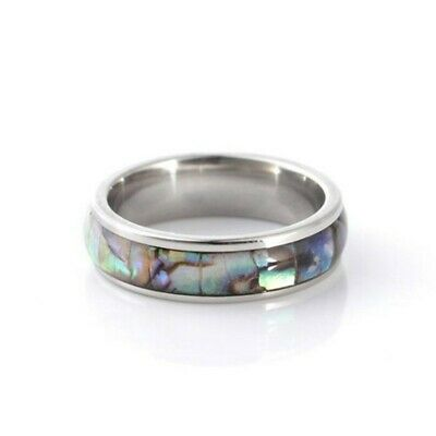 Silver Stainless Steel Abalone Paua Shell Ring Plus Size 9 10 11 12  R T V X
