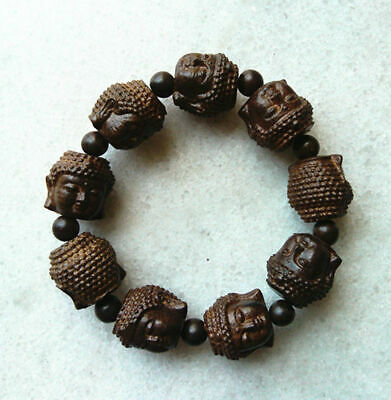 20MM chinese handcareved Natural Wood Bracelet with Buddha head Beads