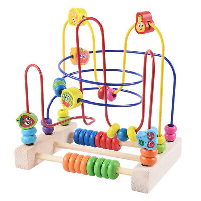 Bead Maze Toy for Toddlers Wooden Colorful Educational Circle Toy