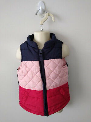 COTTON ON Boys Navy, Pink & Red Quilted Vest  - Size 2