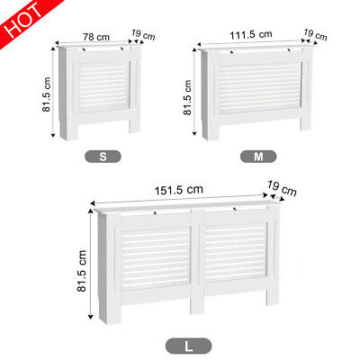Radiator Cover White Wooden Wall Shelves Cabinet Grill Furniture Slats Painted