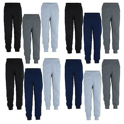 Kids Plain Trousers Girls Tracksuit Jogging Bottoms Boys Pants Bundle (Pack of3)