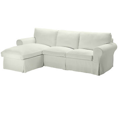 IKEA COVER for EKTORP Loveseat Sofa with Chaise STENASA WHITE Slipcover 10272750