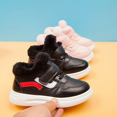 Boys Girls Kids Trainers Shoes Sneaker Children Fur Lined Boot Casual Shoes Size