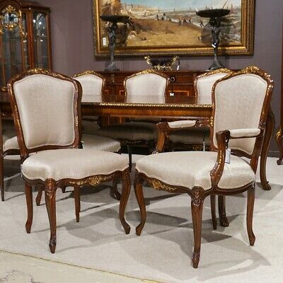 Set of 10 mahogany traditional Louis XV Dining chairs with gold leaf