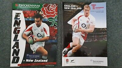 Rugby Union England v New Zealand Programmes 2006 & 2008