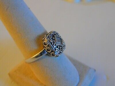 Signed Sterling Silver Ornate Square Statement Ring Marcasite Detail Size 7.5