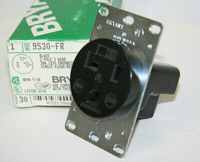 Bryant 9530-FR Flush Receptacle Black 2 Pole 3 Wire 30A 125V Grounding New