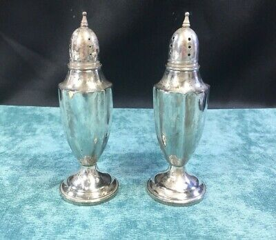 STERLING Silver Salt & Pepper Shakers WEIGHTED BOTTOMS (MRB)