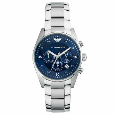 NEW EMPORIO ARMANI AR5860 Mens Stainless Steel Blue Chronograph watch