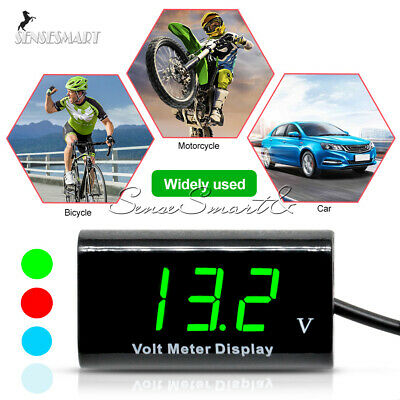 IPX6 Waterproof Voltage Meter 12V Digital Blue/White LED Voltmeter Panel For Car