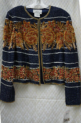 Papell Boutique Evening Silk Floral Beaded Jacket, Small, W/Taqs