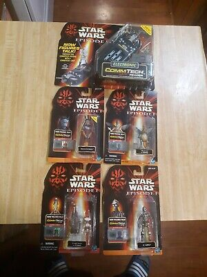 Star Wars MOSC 1998 1999 Lot 4 Figures 1 Electronic Commtech Reader Episode 1