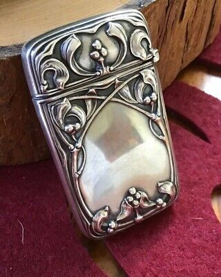 GORHAM Sterling Silver Match Safe Vesta Case Box Mistletoe Christmas Xmas Gift