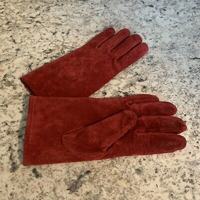 ARIS Suede Leather Gloves Size M Red